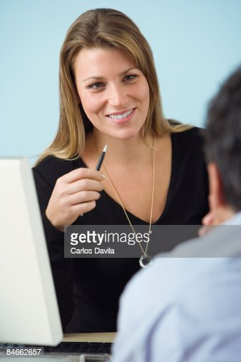 positive dialogue during an a business interview stock photo