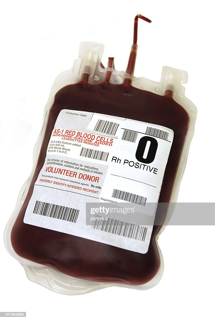 O Positive packed cell blood bag