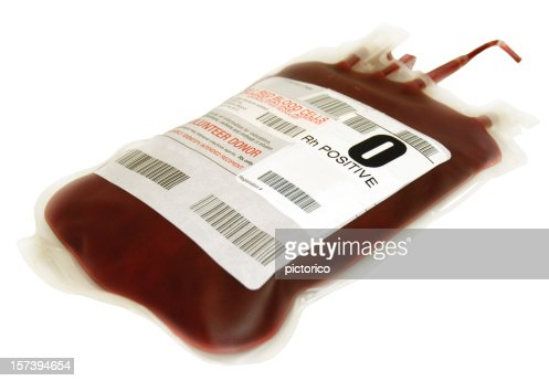 O positive packed cells blood bag