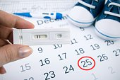 Positive pregnancy test on calendar with date of birth