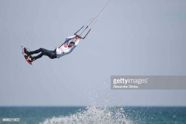 Posito MArtinez of Dominican Republic competes in the WKL Kiteboarding World Cup 2017 freestyle qualifiers on April 14 2017 in Leucate France