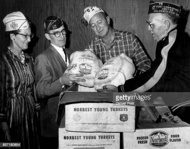 VFW post and Auxiliary Join hands in giving 34 Turkeys Two of 34 gift turkeys for nine Denver institutions get attention of representatives of...