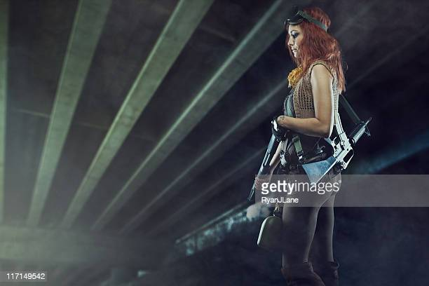 Post Apocalyptic Woman in Futuristic Tunnel