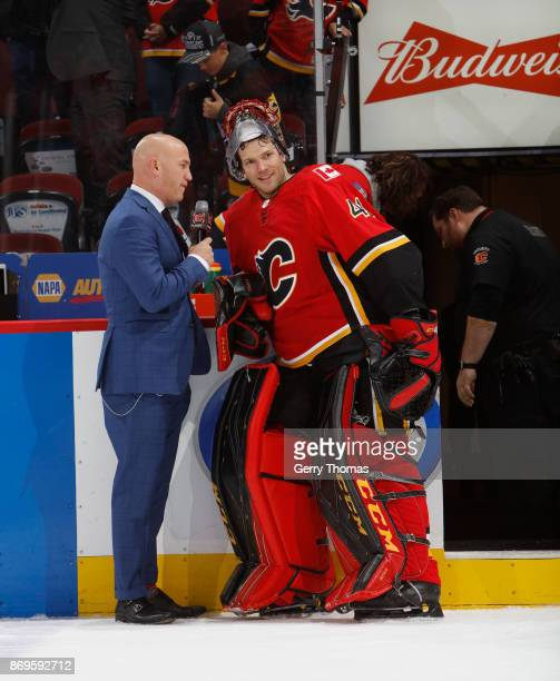 Post game interview with the game's first star Mike Smith of the Calgary Flames after an OT win against the Pittsburg Penguins at Scotiabank...