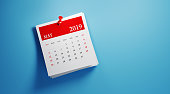 Post it May 2019 calendar on blue background. Horizontal composition with copy space. Calendar and reminder concept.