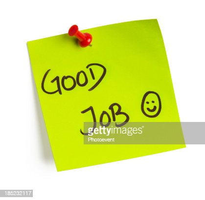 A post it note that says good job