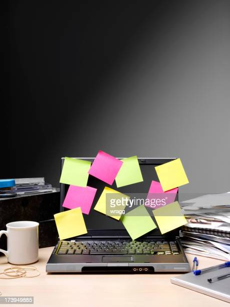 Post it notes on a Computer