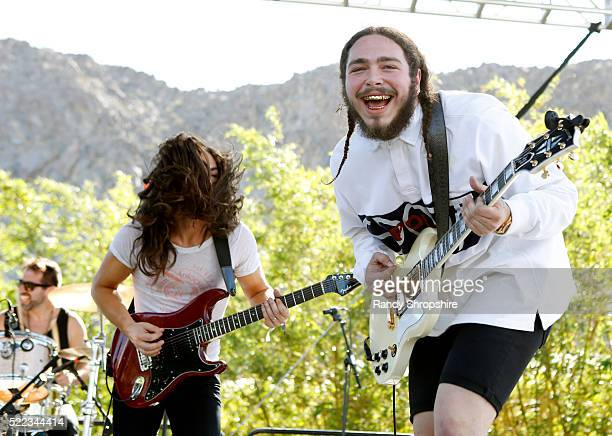 Post Malone performs on stage at the Coachella Republic Records Jaegermeister Party at Republic House on April 17 2016 in Palm Springs California