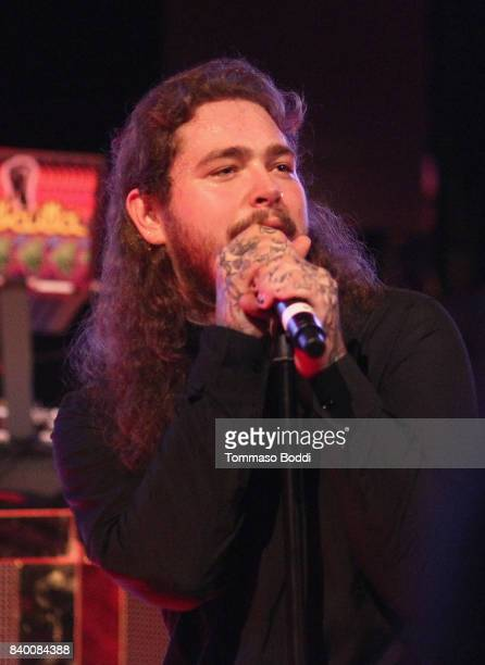 Post Malone performs onstage during the VMA after party hosted by Republic Records and Cadillac at TAO restaurant at the Dream Hotel on August 27...
