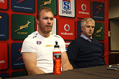 Post match press conference during the Super Rugby Quarter Final match between the DHL Stormers and Chiefs at DHL Newlands on July 23 2016 in Cape...