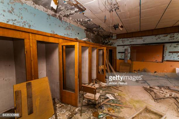 Post office in the Chernobyl zone. Prypiat, Ukraine
