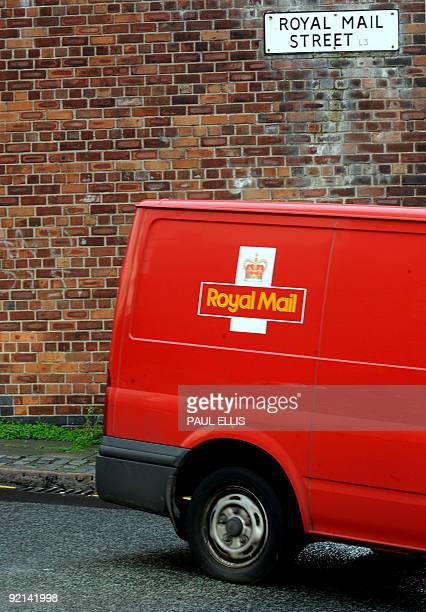 A post van leaves the main Royal Mail sorting office in Liverpool northwest England on October 21 2009 A last ditch attempt to avoid two planned...