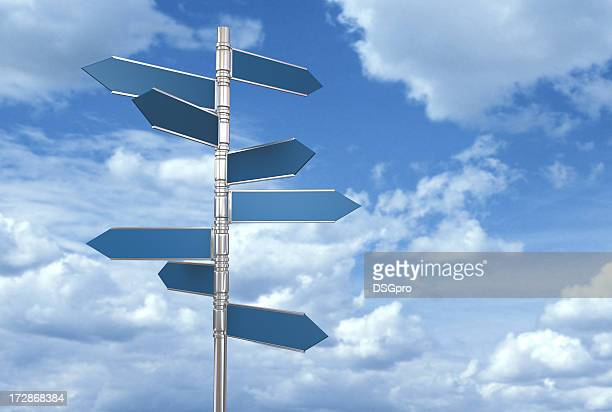A post with signs of conceptual direction behind blue sky