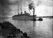 Post World War II 11th August 1945 Southampton England The Liner 'Queen Mary' which completed 520000 miles during her war service and carried over...