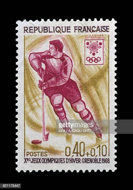 Postage stamp commemorating 10th Olympic Winter Games Grenoble depicting Ice hockey France 20th century France