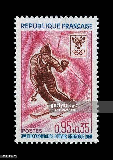 Postage stamp commemorating 10th Olympic Winter Games Grenoble depicting Slalom France 20th century France