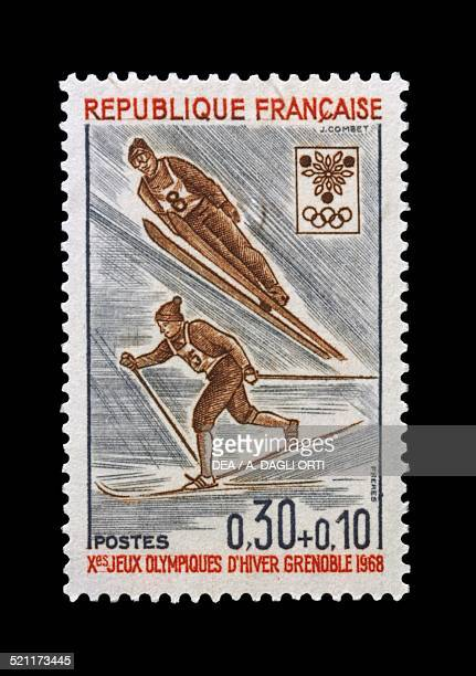 Postage stamp commemorating 10th Olympic Winter Games Grenoble depicting Ski jumping and skiing France 20th century France