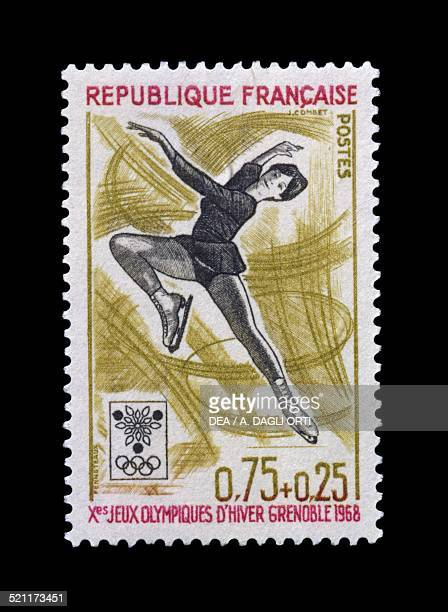 Postage stamp commemorating 10th Olympic Winter Games Grenoble depicting the Figure skating France 20th century France