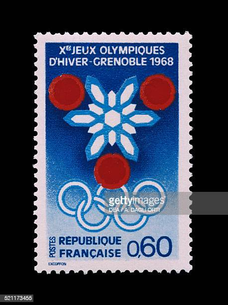 Postage stamp commemorating 10th Olympic Winter Games Grenoble depicting the Olympic rings France 20th century France
