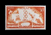 Postage stamp commemorating the 16th Olympic Games in Melbourne 1956 Principality of Monaco 20th century Monaco