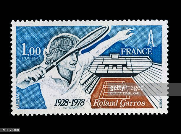Postage stamp commemorating the 50th anniversary of the Roland Garros stadium 1978 France 20th century France