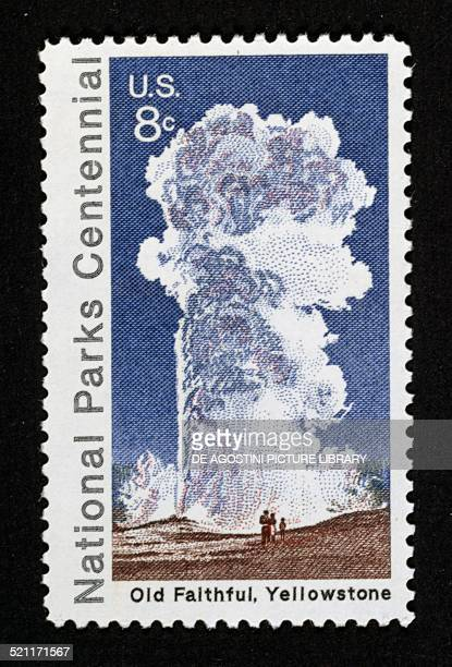 Postage stamp commemorating the Centenary of the National Parks depicting the Old faithful geyser in Yellowstone park United States of America 20th...