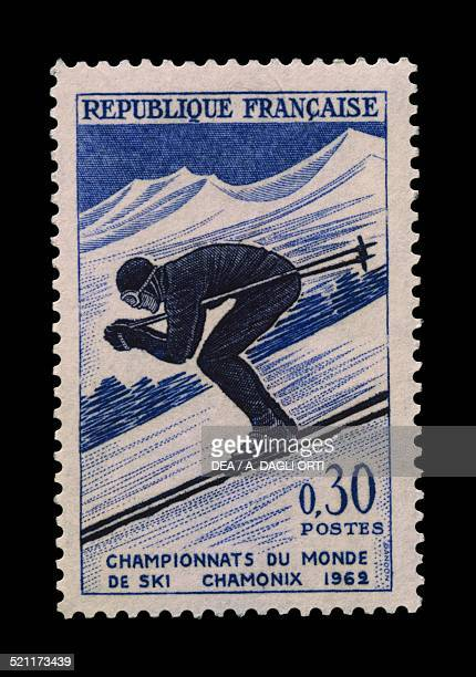 Postage stamp commemorating the FIS Alpine World Ski Championships in Chamonix Downhill France 20th century France