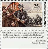Postage stamp commemorating the German invasion of Belgium during World War II 1990 Marshall Islands 20th century Marshall Islands
