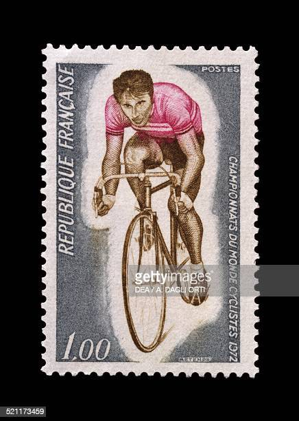Postage stamp commemorating the World Road Race Championships 1972 France 20th century France