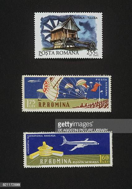 Postage stamp depicting a Windmill in Enisla 1994 centre and bottom series commemorating the Day of Aviation and the 50th anniversary of the 1st...