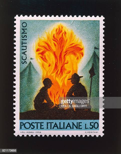 Postage stamp from the Boy scouts series 50lire stamp 1968 Italy 20th century Italy