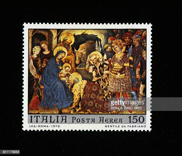 Postage stamp from the Christmas series depicting the Adoration of the Magi or Strozzi Altarpiece by Gentile da Fabriano 150lire stamp 1970 Italy...