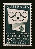 Postage stamp from the series commemorating the Melbourne Olympics depicting the Olympic rings 1956 Australia 20th century Australia