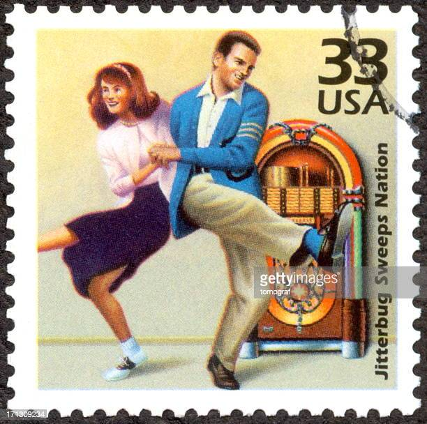 US Postage stamp of Jitterbug Dancing Couple