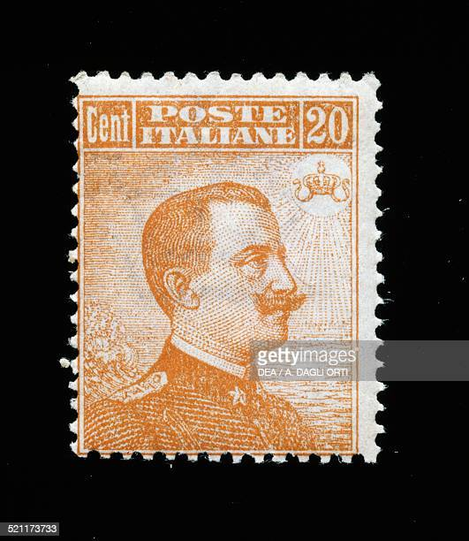 Postage stamp of type Michetti with right facing portrait of Vittorio Emanuele III of Savoy 20cent stamp issued by the Kingdom of Italy in 1917...