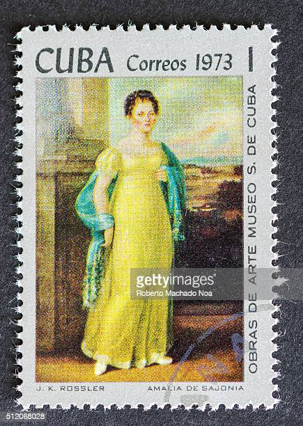 Postage stamp stamp used for mail a series of stamps developed in 1973 depicting works of arts from Cuba's most famous museum Painting depicts a...