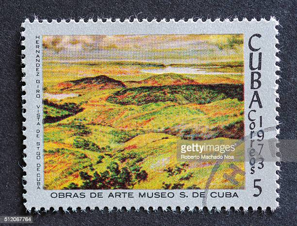 Postage stamp used for mail a series of stamps developed in 1973 depicting works of arts from Cuba's most famous museum Painting shows an field ready...