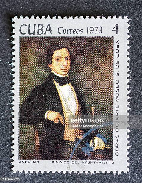 Postage stamp used for mail a series of stamps developed in 1973 depicting works of arts from Cuba's most famous museum Painting depicting a man well...
