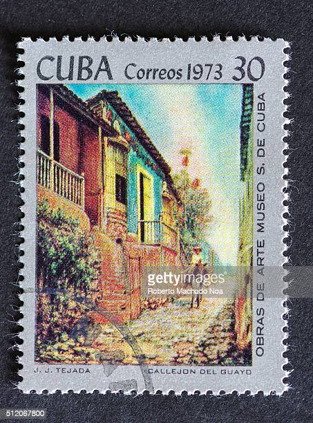 Postage stamp used for mail a series of stamps developed in 1973 depicting works of arts from Cuba's most famous museum Painting shows a colonial...