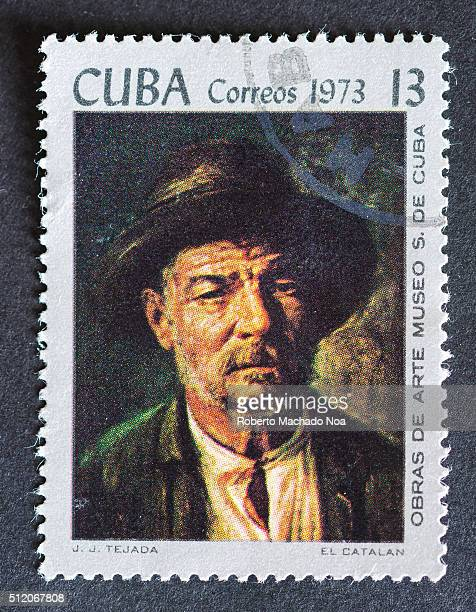 Postage stamp used for mail a series of stamps developed in 1973 depicting works of arts from Cuba's most famous museum Painting depicts an old man...