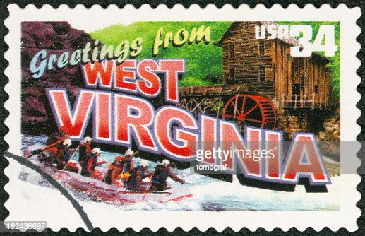 Postage stamp with greetings from West Virginia