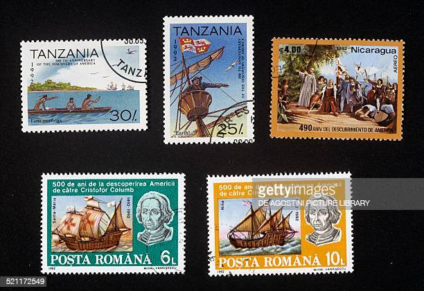 Postage stamps commemorating the 500th anniversary of the discovery of America top left and centre postage stamps depicting natives in a canoe and a...