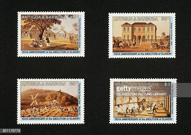 Postage stamps from the series commemorating 150 years since the abolition of slavery depicting from left to right and from top to bottom the...