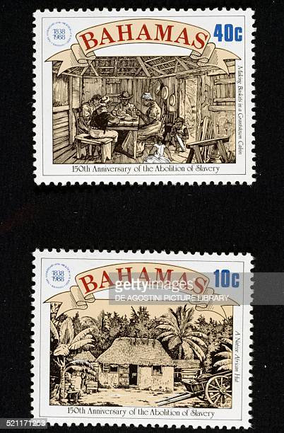 Postage stamps from the series commemorating the 150th anniversary of the abolition of slavery depicting top making baskets bottom Africanstyle hut...