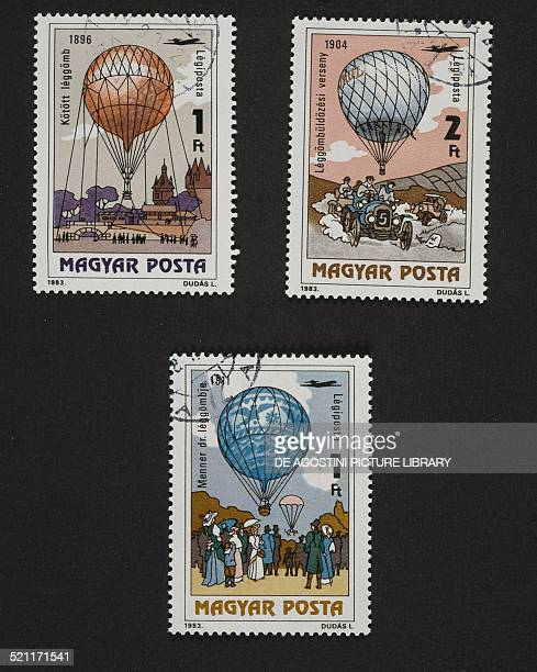Postage stamps from the series commemorating the 200th anniversary of the first manned balloon flight depicting clockwise Hot air balloon on the...