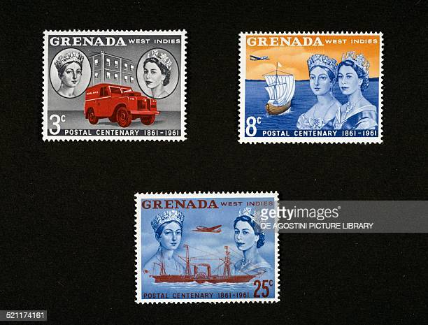 Postage stamps from the series commemorating the Centenary of Grenada Post depicting a postal van Tall ship and airplane steamship and airplane with...