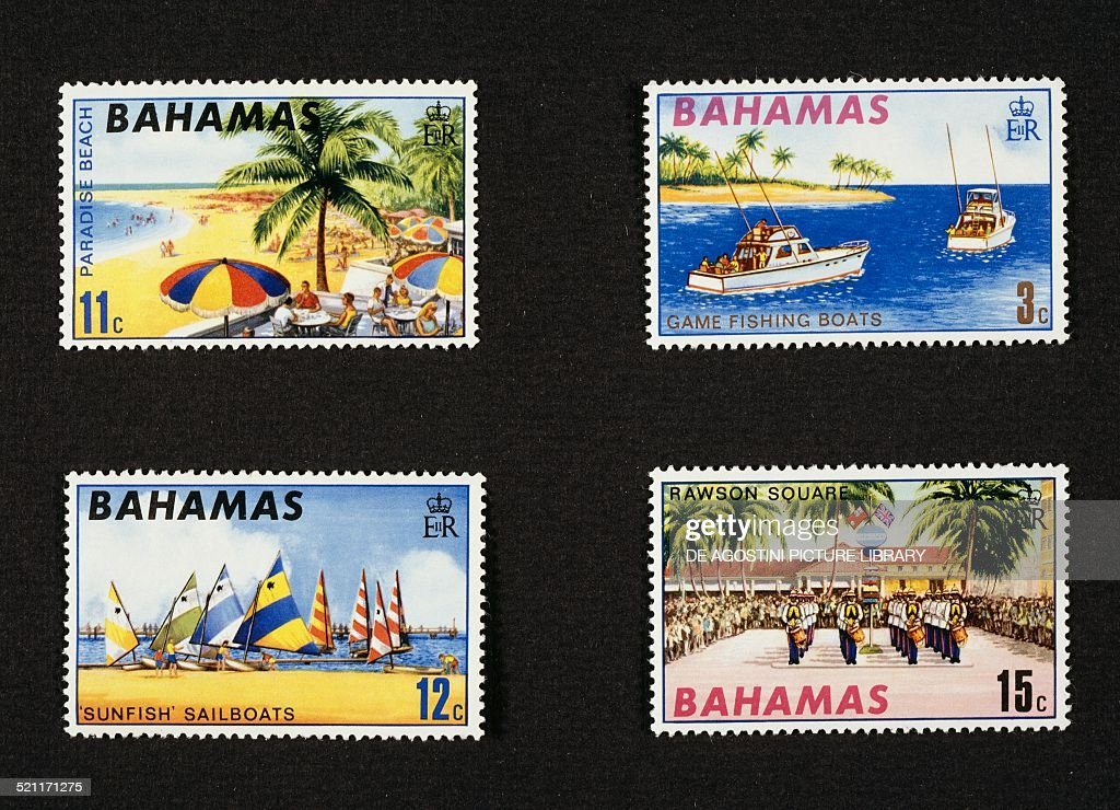Postage stamps from the series honouring American tourism depicting from left to right and from top to bottom Paradise beach Deep sea fishing Sailing...