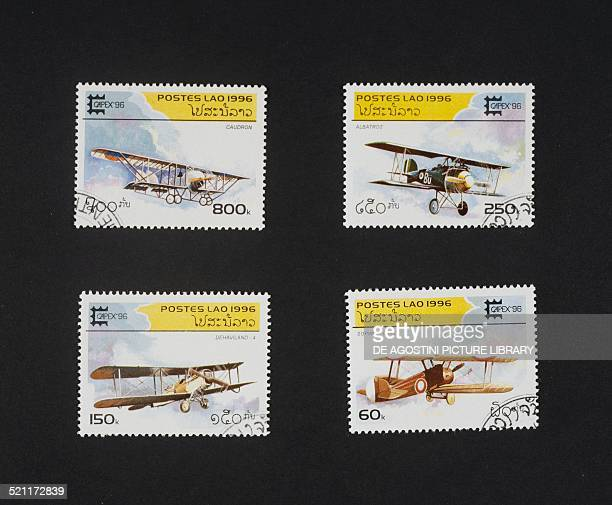 Postage stamps from the series honouring Biplanesdepicting from left to right and from top to bottom Caudron Albatros De Havilland DH4 Sopwith Camel...