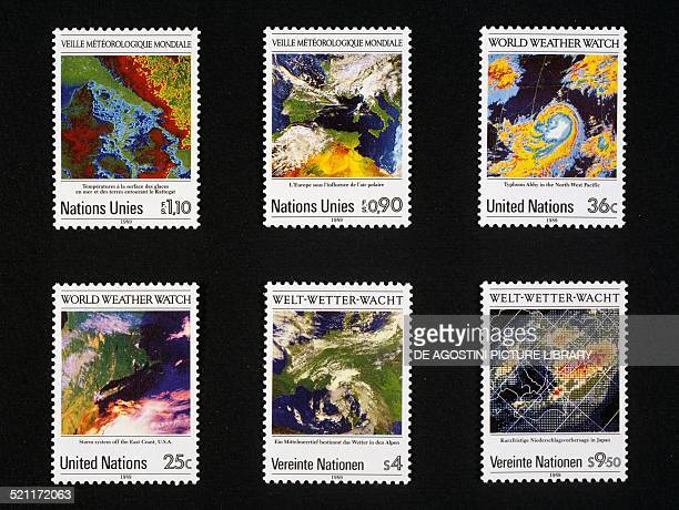 Postage stamps from the series honouring Meteorological satellites 1989 United Nations 20th century Unspecified