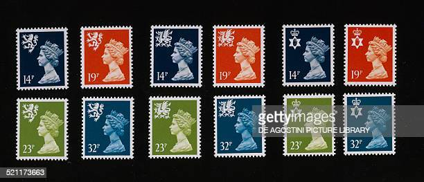 Postage stamps from the series honouring Queen Elizabeth II regional issues United Kingdom 20th century London National Postal Museum United Kingdom